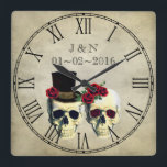 "Goth Skulls Married Couple Custom Wedding Square Wall Clock<br><div class=""desc"">This is a gorgeous custom clock you can customize. Use it for your wedding decor,  or give it to the new couple as a gift.</div>"