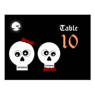 Goth Skulls Table Number Postcard