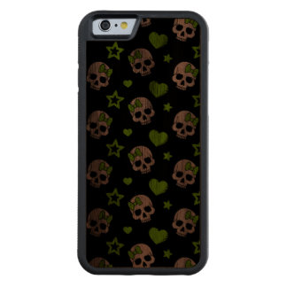 Goth Skulls With Green Hearts Carved Walnut iPhone 6 Bumper Case