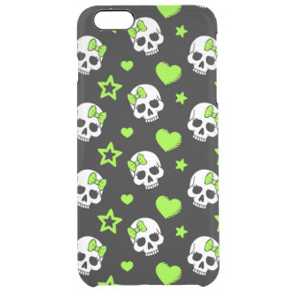 Goth Skulls With Green Hearts Clear iPhone 6 Plus Case
