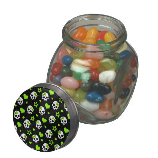 Goth Skulls With Green Hearts Glass Jars