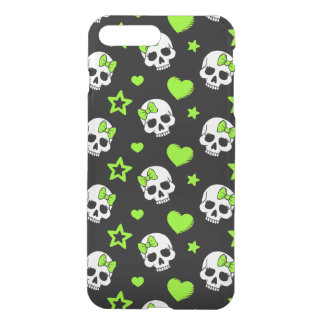 Goth Skulls With Green Hearts iPhone 7 Plus Case