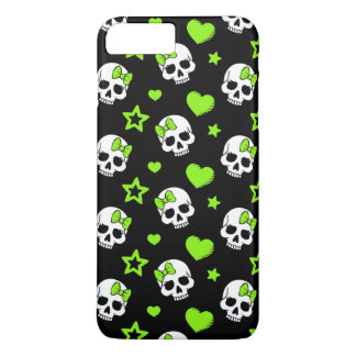 Goth Skulls With Green Hearts iPhone 8 Plus/7 Plus Case
