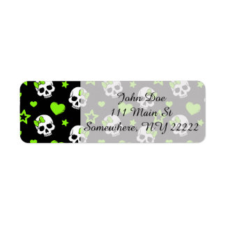 Goth Skulls With Green Hearts Return Address Label