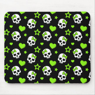 Goth Skulls With Green Hearts Mouse Pad