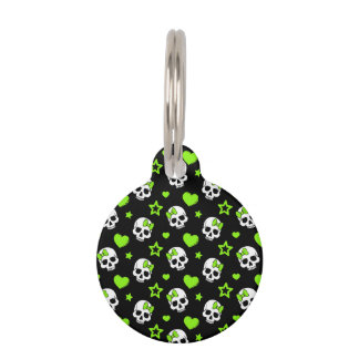 Goth Skulls With Green Hearts Pet Name Tag