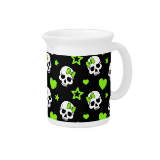 Goth Skulls With Green Hearts Drink Pitcher