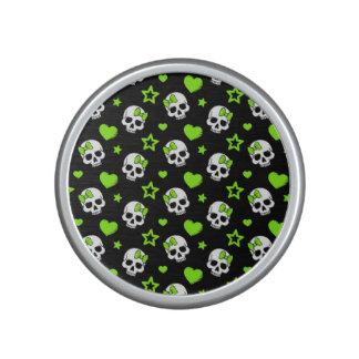 Goth Skulls With Green Hearts Speaker