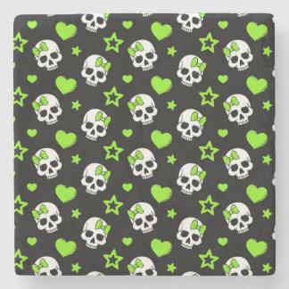 Goth Skulls With Green Hearts Stone Coaster
