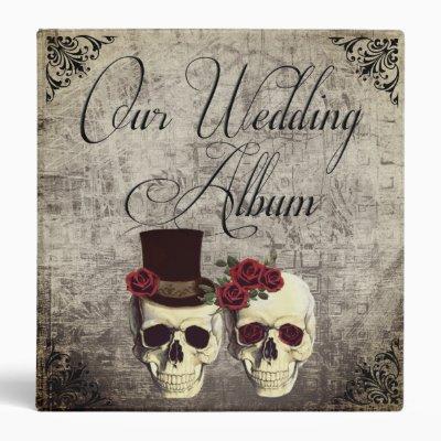 Goth Skulls with Roses Wedding Photo Album 3 Ring Binder