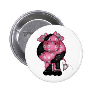Goth Skully Cow 2 Inch Round Button