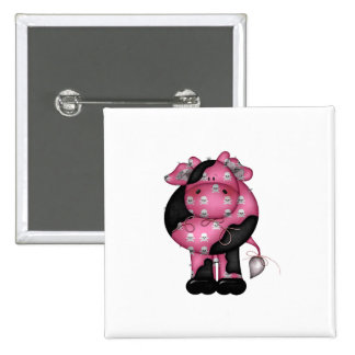 Goth Skully Cow 2 Inch Square Button
