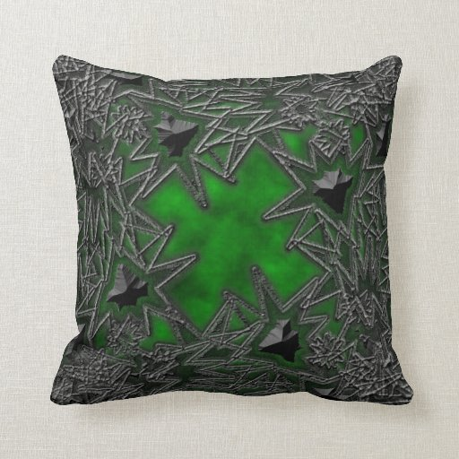 Goth Square: Green Cloud Pillow