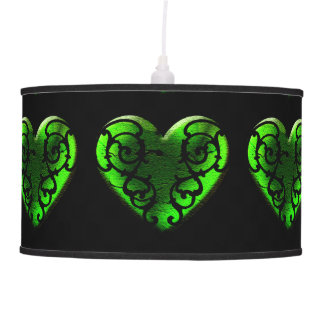Goth St. Patrick's Day Green Heart Lampshade