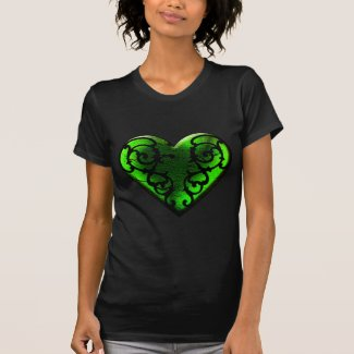 Goth St. Patrick's Day Green Heart Tshirts
