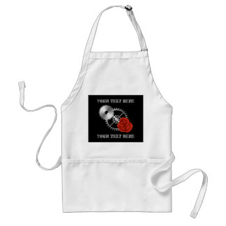 Goth steampunk victorian rose and gears romantic adult apron