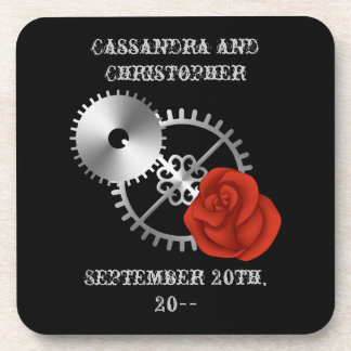 Goth steampunk victorian rose and gears romantic drink coaster