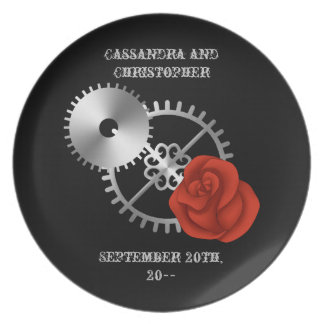 Goth steampunk victorian rose and gears romantic dinner plates