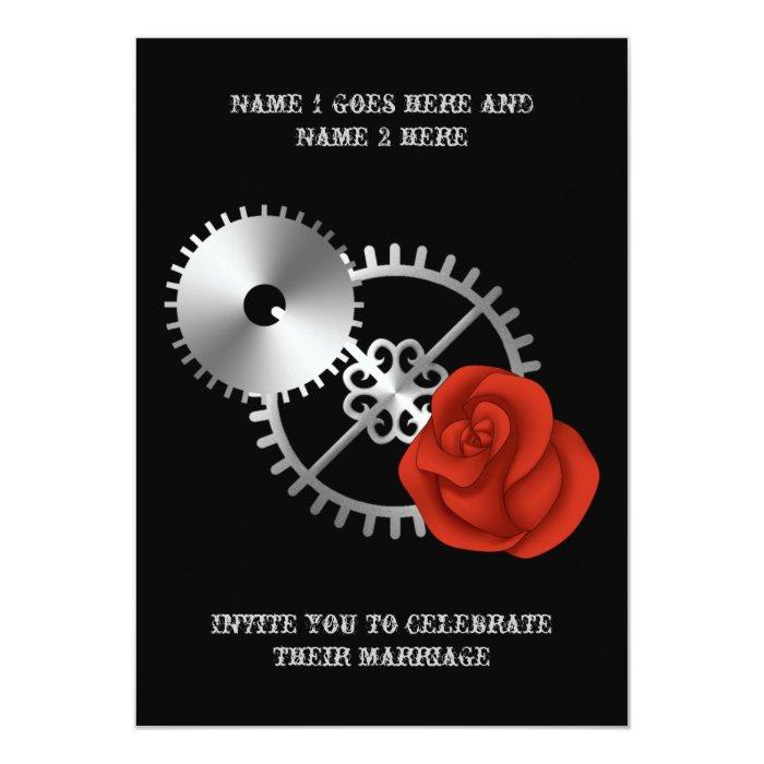 Goth steampunk victorian rose and gears wedding card