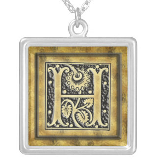 Goth Style Initial H Silver Necklace