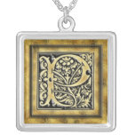 Goth Style Initial P Silver Necklace