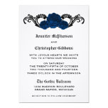 "Goth Swirl Roses Wedding Invite, Blue 5"" X 7"" Invitation Card"