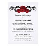 Goth Swirl Roses Wedding Invite, Red