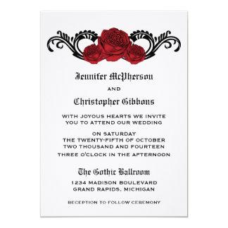 Goth Swirl Roses Wedding Invite, Red 5x7 Paper Invitation Card
