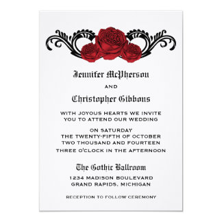 Goth Swirl Roses Wedding Invite, Red Card