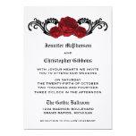 "Goth Swirl Roses Wedding Invite, Red 5"" X 7"" Invitation Card"