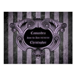 Goth theme black and purple save the date wedding postcard