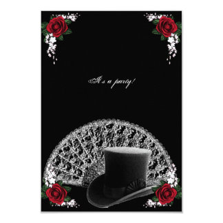 Goth Top Hat and Fan Victorian Wedding Card