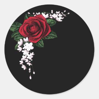 Goth Top Hat and Fan Victorian Wedding Classic Round Sticker
