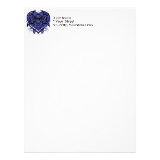 Goth Tribal Flourish Blue Heart Letterhead