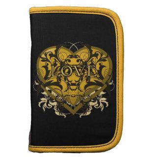 Goth Tribal Flourish Gold Heart with LOVE Folio Planner