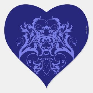 Goth Tribal Flourish in Blue Heart Sticker