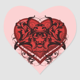 Goth Tribal Flourish Red Heart Heart Sticker