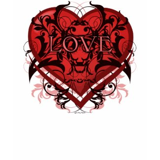 Goth Tribal Flourish Red Heart with LOVE shirt