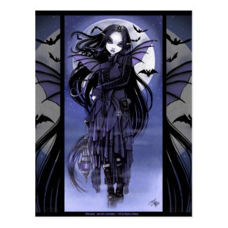 Goth Vampire Bat Fairy Purple Moon Morgan Postcad Postcard