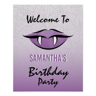 Goth Vampire Lips Halloween Birthday Poster Sign
