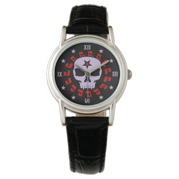 Halloween Themed Goth Vampire Skull with Pentagram and Stars Wristwatch