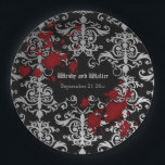 """Goth vampire themed wedding paper plate<br><div class=""""desc"""">Pretty paper party plates in a dark Gothic style. These match my Halloween vampire themed wedding set. They are a black and light to dark gray damask with a label on them to personalize. Blood splatters decorate them. You can remove any design elements you want. Reword them if desired to...</div>"""
