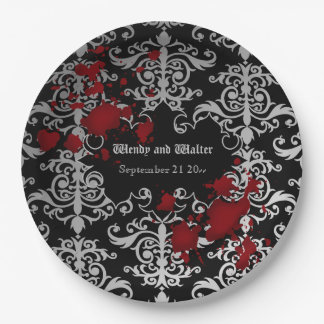 Goth vampire themed wedding paper plate