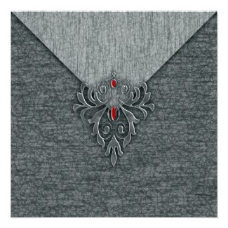 Goth Vintage Damask Red Jeweled Announcement