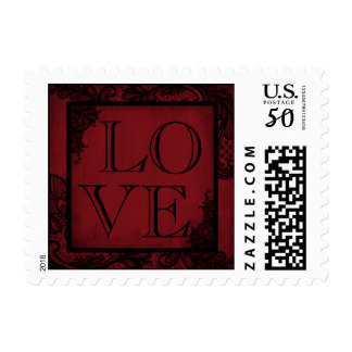 Goth Wedding red Black Lace LOVE Stamp