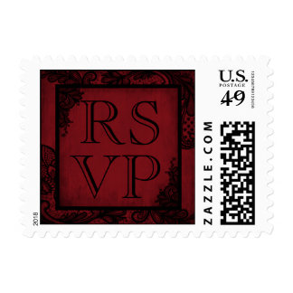 Goth Wedding Red Black Lace RSVP Stamp