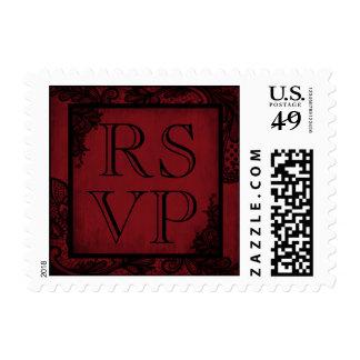 Goth Wedding Red Black Lace RSVP Stamp