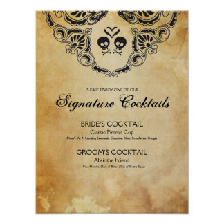 Goth Wedding Signature Cocktail Sign Halloween Poster