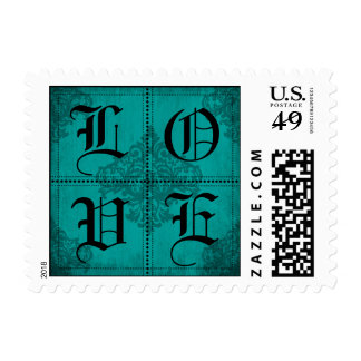 Goth Wedding Teal and Black LOVE Stamp