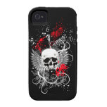 Goth Winged Grunge Skull iPhone Case (red) Vibe iPhone 4 Case